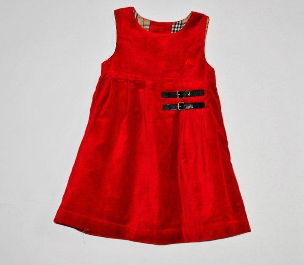 Фото 2: Красный велюровый сарафан для девочек