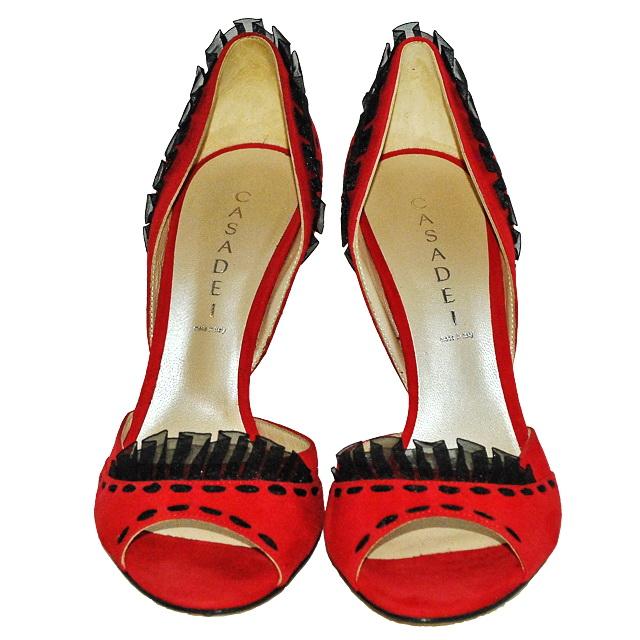 Стильные туфли насыщенного красного цвета замша (кожа). Высота каблука: 11 см. Картинка: 2