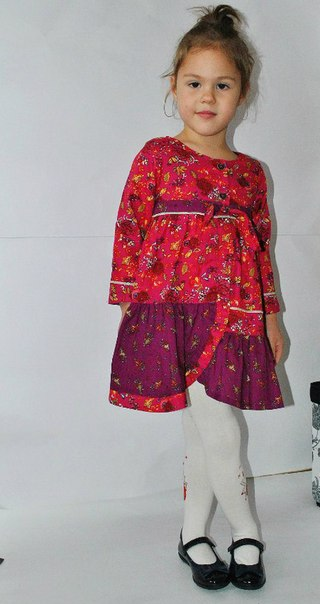 Фото 3: Бордовое платье для девочек Kenzo