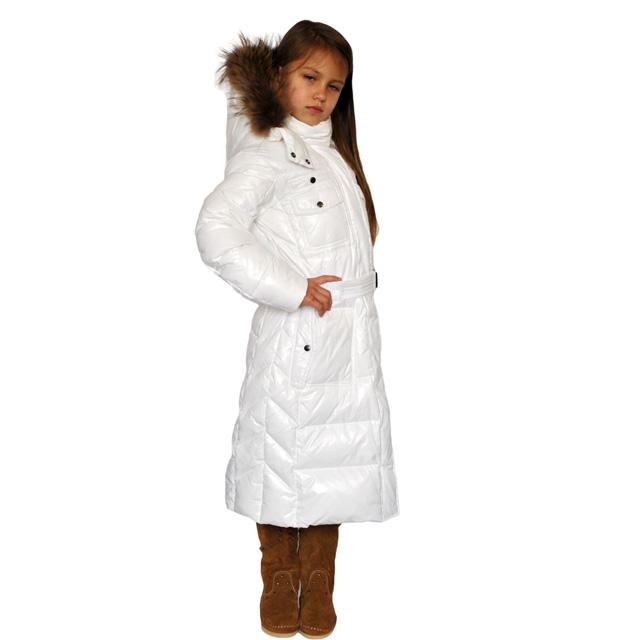 Фото 6: Белый удлиненный пуховик Аdd для девочек