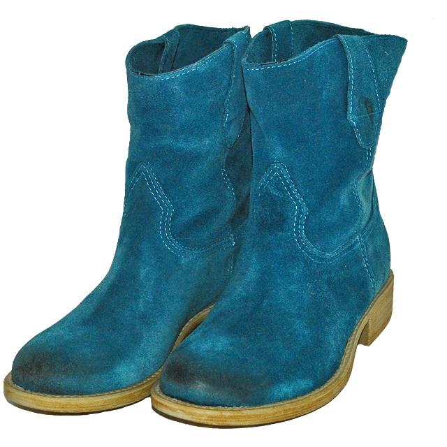 Кожаные сапоги синего цвета, внутри кожа. Италия. Фотография: 2