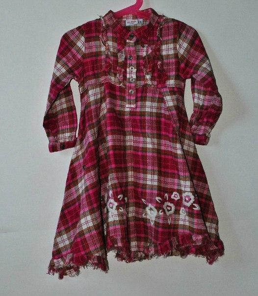 Фото 2: Платье красное в декоративную клетку WeKids by KappAhl