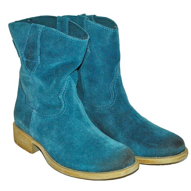 Кожаные сапоги синего цвета, внутри кожа. Италия. Фотография: 1