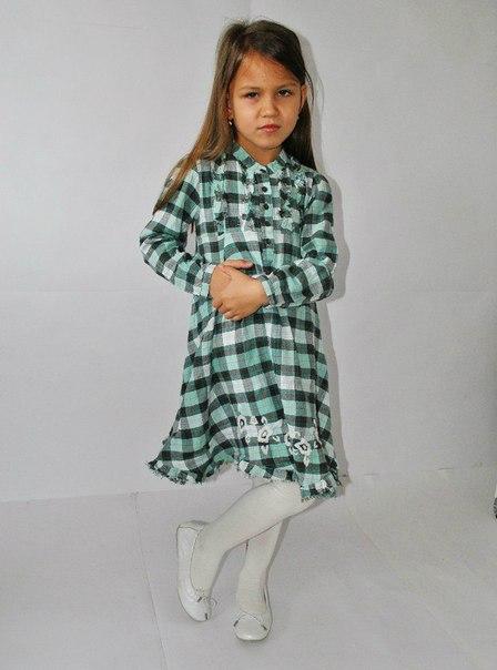 Фото 2: Платье зеленое в декоративную клетку WeKids by KappAhl