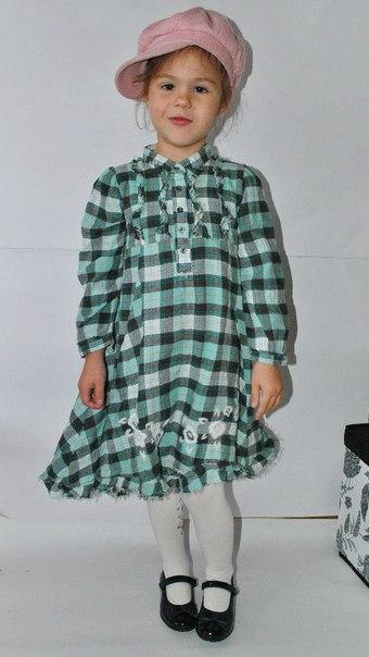 Фото 3: Платье зеленое в декоративную клетку WeKids by KappAhl