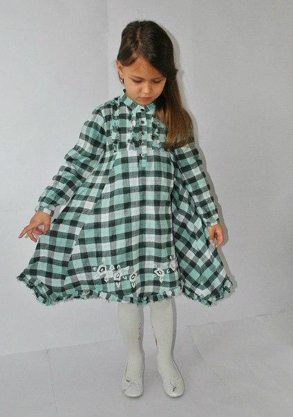 Фото 6: Платье зеленое в декоративную клетку WeKids by KappAhl