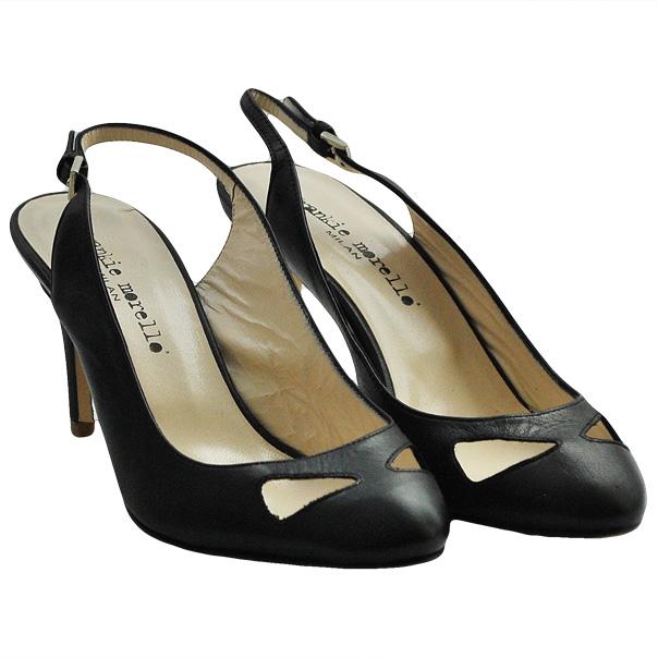 Кожаные туфли с открытой пяткой, каблук устойчивый, высота 7 см. Цвет угольно черный. Картинка: 1