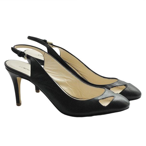 Кожаные туфли с открытой пяткой, каблук устойчивый, высота 7 см. Цвет угольно черный. Картинка: 2