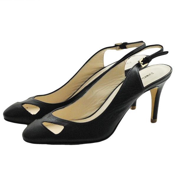 Кожаные туфли с открытой пяткой, каблук устойчивый, высота 7 см. Цвет угольно черный. Картинка: 3