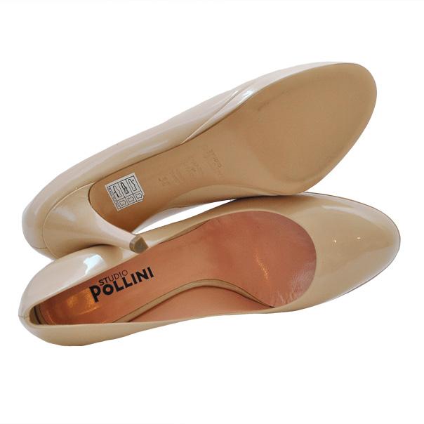 Туфли лакированной кожи однотонного цвета без аппликаций, каблук обтянут кожей. Картинка: 5