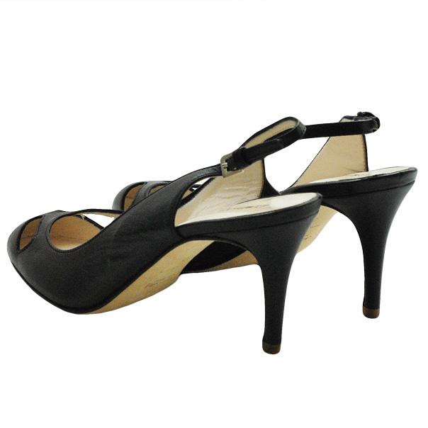 Кожаные туфли с открытой пяткой, каблук устойчивый, высота 7 см. Цвет угольно черный. Картинка: 4