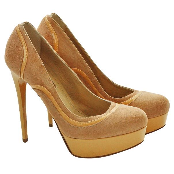 Замшевые туфли эффект ламинирования, подошва кожаная, шпилька 11 см, высота платформы 2 см. Картинка: 1