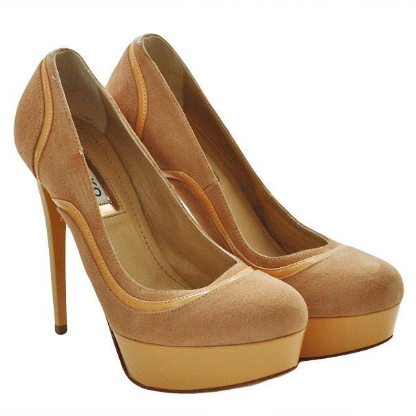 Замшевые туфли эффект ламинирования, подошва кожаная, шпилька 11 см, высота платформы 2 см. Картинка: 2