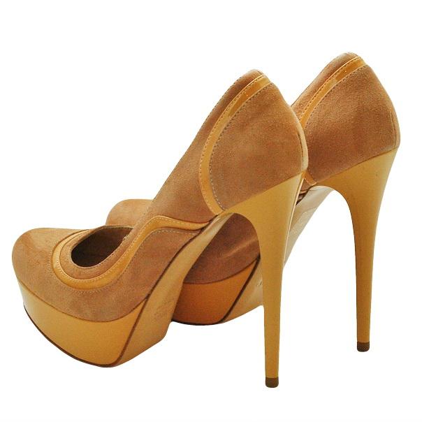 Замшевые туфли эффект ламинирования, подошва кожаная, шпилька 11 см, высота платформы 2 см. Картинка: 3