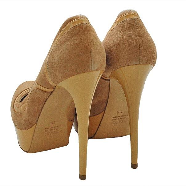Замшевые туфли эффект ламинирования, подошва кожаная, шпилька 11 см, высота платформы 2 см. Картинка: 4