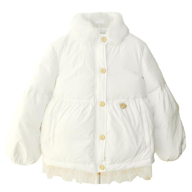 Фото 1: Белый пуховик Blumarine Baby для девочек