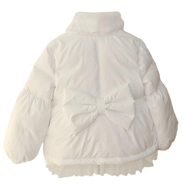 Фото 2: Белый пуховик Blumarine Baby для девочек
