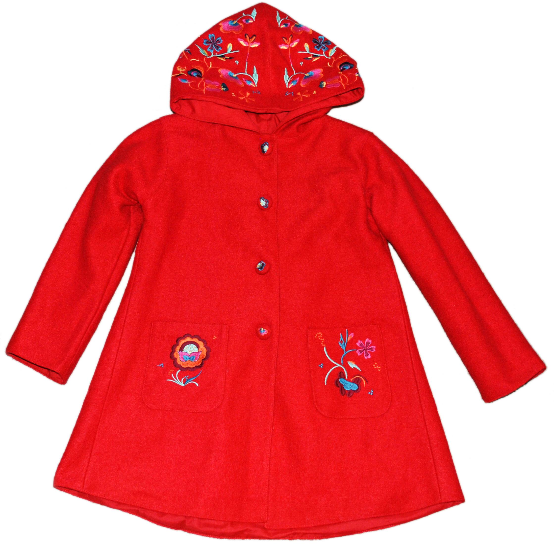 Фото 1: Шерстяное пальто с глубоким капюшоном, застегивается на кнопки, накладные карманы, пуговицы карманы и капюшон расшиты яркими цветами.