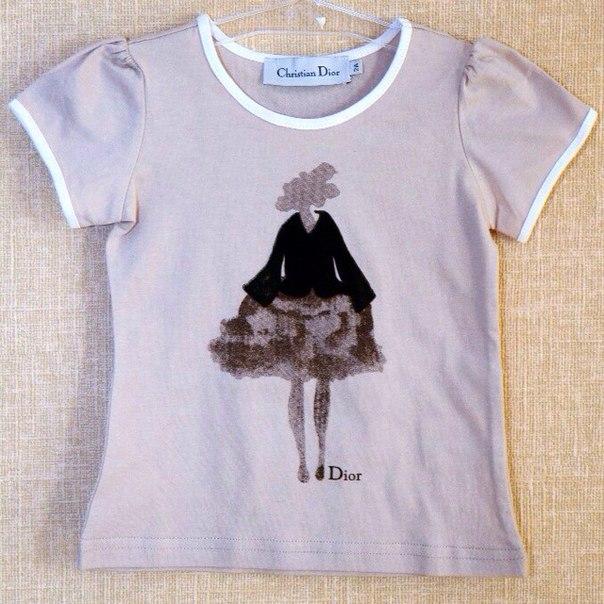 Фото 2: Футболка Dior для девочек с рисунком
