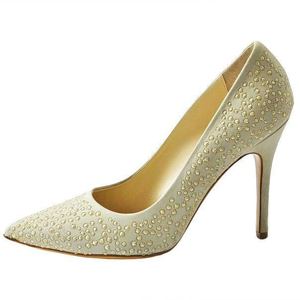 Замшевые одноцветные туфли с узким носком, аппликации металлизированными нитями, кожаная подошва, обтянутый каблук-стилет. Картинка: 3