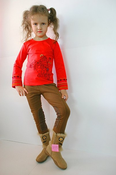 Фото 2: Коричневые брюки для девочек ZARA