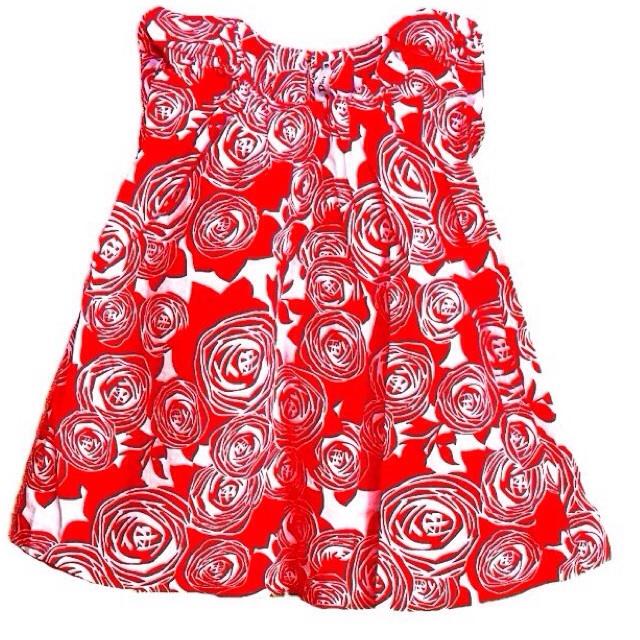 Фото 2: Красное с декоративным цветком платье DIOR
