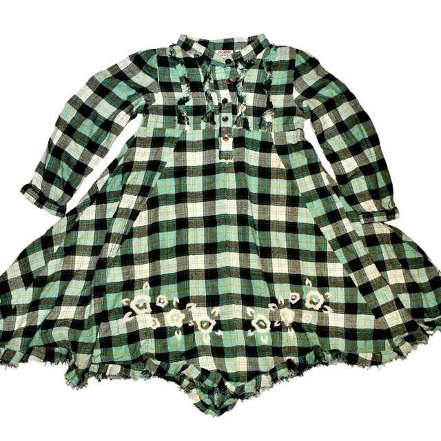 Фото 1: Платье зеленое в декоративную клетку WeKids by KappAhl