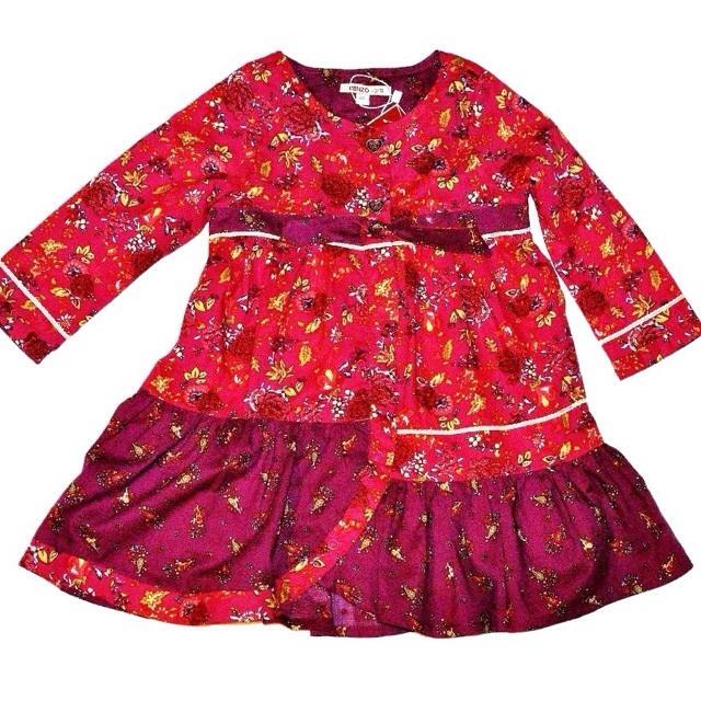 Фото 1: Бордовое платье для девочек Kenzo