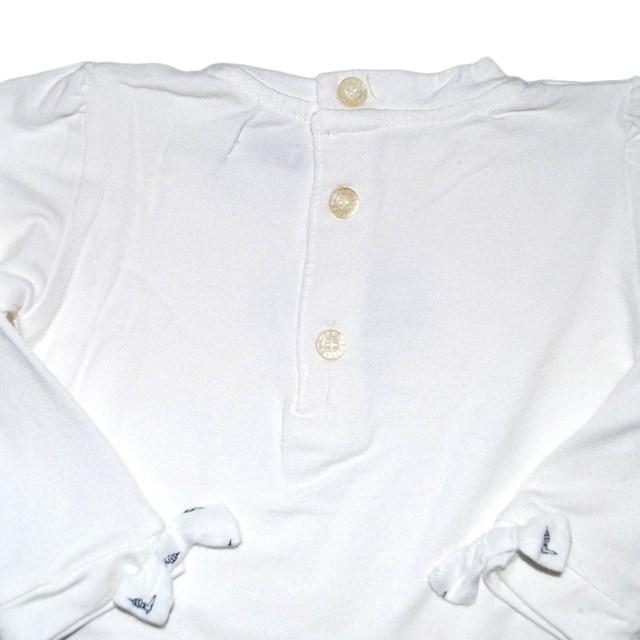 Фото 3: Белая блуза Trussardi для малышей украшена кристаллами