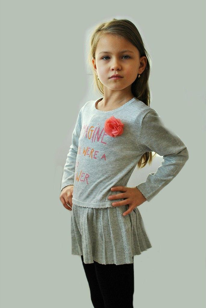 Фото 4: Детская туника IKKS для девочек серого цвета