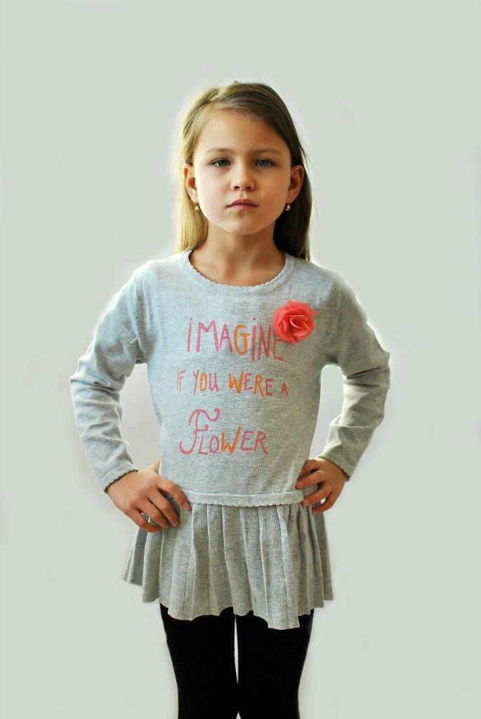 Фото 5: Детская туника IKKS для девочек серого цвета