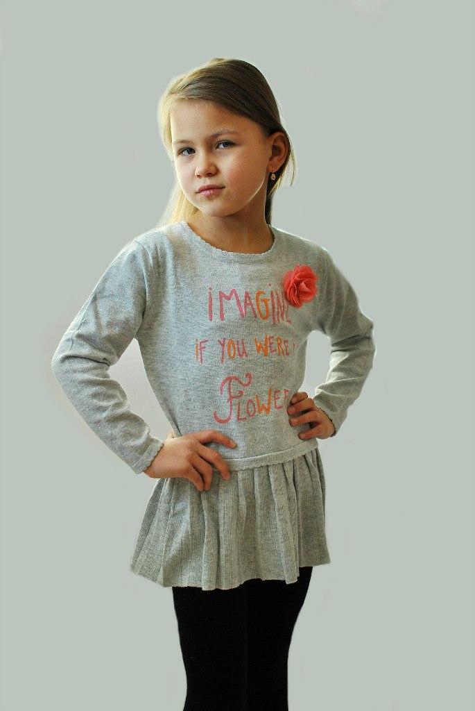 Фото 7: Детская туника IKKS для девочек серого цвета