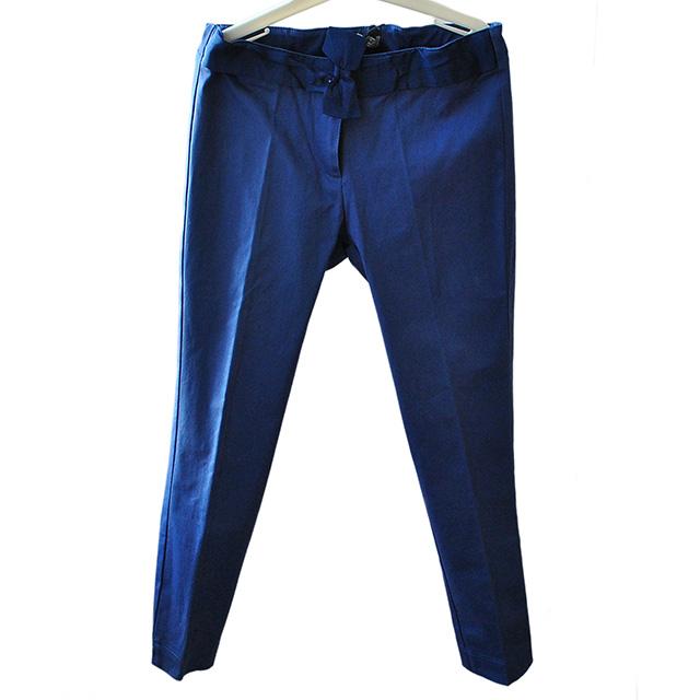 Классические синие брюки. На поясе бант, зауженные к низу. Фото: 1