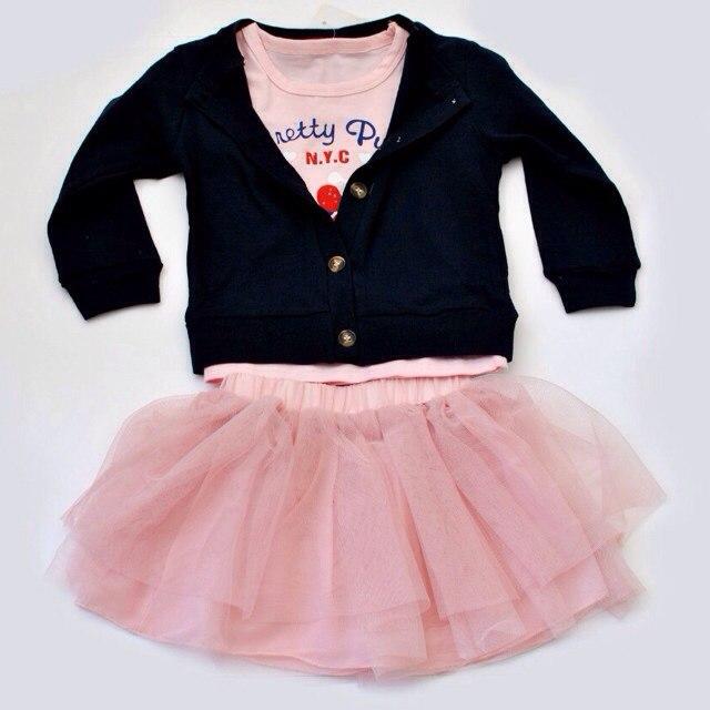 Фото 1: Детский комплект: футболка, юбка, кардиган для девочек