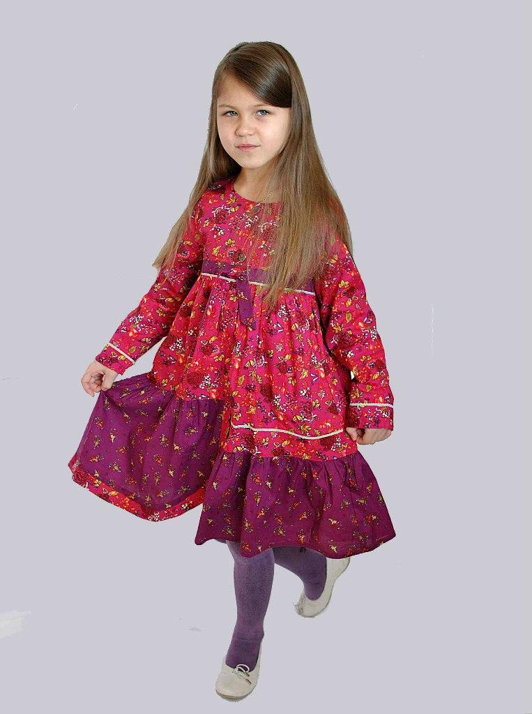 Фото 7: Бордовое платье для девочек Kenzo