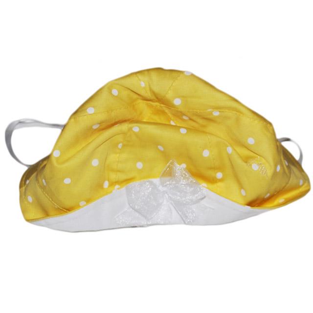 Фото 2: Желто-белая панама с декоративным бантиком