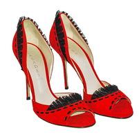 Стильные туфли насыщенного красного цвета замша (кожа). Высота каблука: 11 см. Картинка: 1