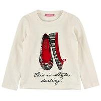 Детская футболка с длинным рукавом сливочного цвета. Рисунок на футболке украшен стразами. Фото: 1