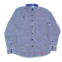 Фото 1: Классическая синяя рубашка в полоску Jacadi