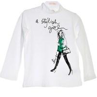 Белая водолазка с длинным рукавом. Надпись на футболке украшена стразами, бока по низу присборены. Фото: 1