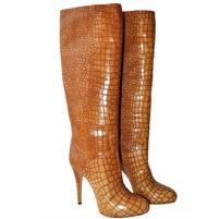 Зимние сапоги из качественной кожи принт крокодил. Картинка: 1