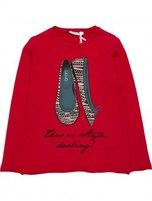 Детская футболка с длинным рукавом красного цвета. Рисунок на футболке украшен стразами. Фото: 1