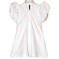 Коротенькое платье молочного цвета. Воротничок стойка, рукав фонарик. Фото: 1