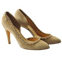Одноцветные замшевые туфли с узким носком, отделка строчками, логотип, аппликации из металла, кожаная подошва, обтянутый каблук-стилет. Картинка: 1